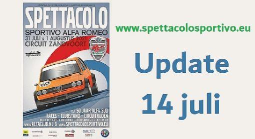 Update 14 juli: veel belangrijk Spettacolo nieuws